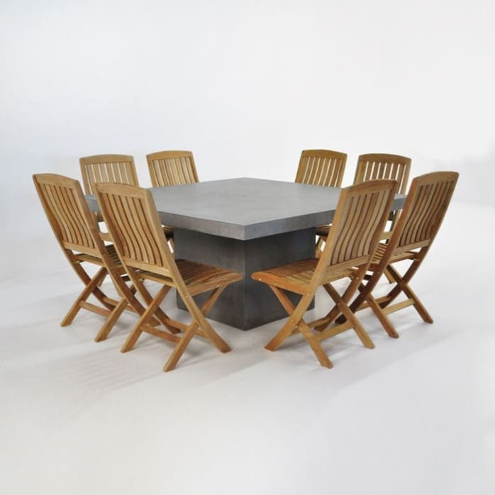Outdoor Dining Set   Square Concrete Table with 8 Chairs-0