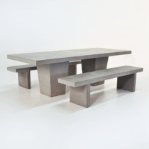 Outdoor Dining Set | Tapered Concrete Table and 2 Benches-0