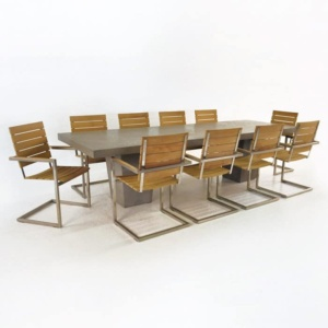 Tapered Leg Concrete Table And Chairs Set-0