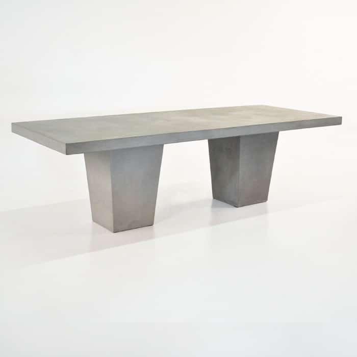 concrete outdoor dining table with 2 legs