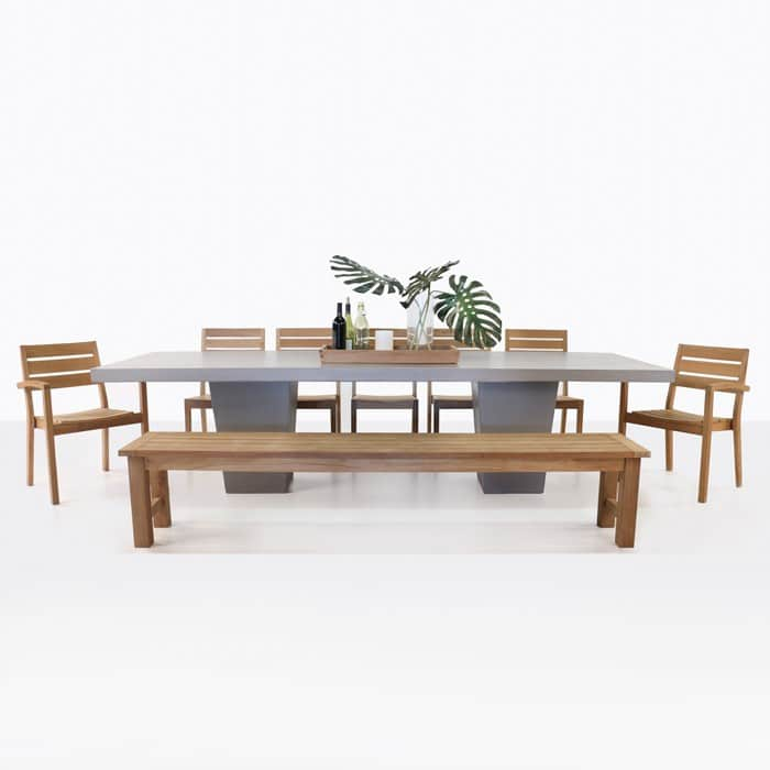 Dining Table With Bench And Chairs Were Comfortable: Concrete Dining Table With Teak Bench And Chairs