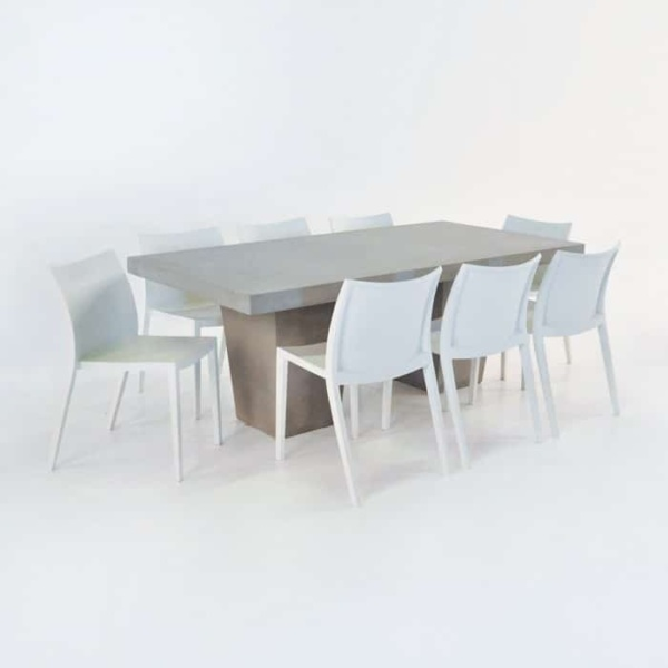 Outdoor Dining Set   Concrete Table & 8 Box Chairs -0