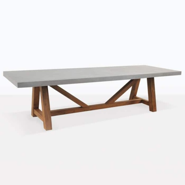 outdoor dining table concrete teak trestle