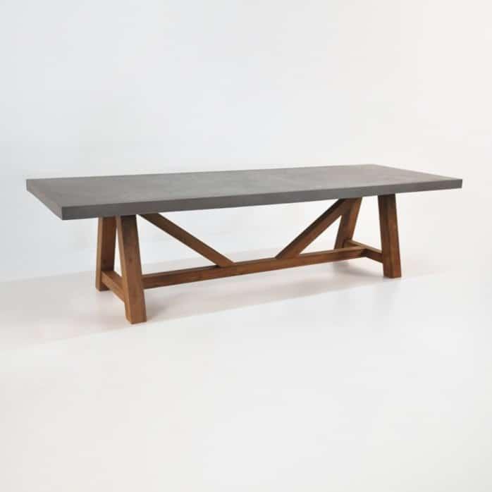 Raw concrete trestle dining tables design warehouse nz