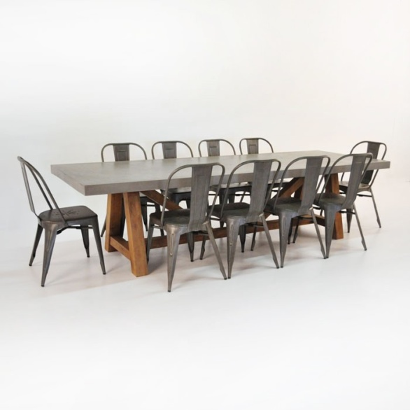 Concrete Dining Set | Concrete Table With 8 Alix Chairs 0 ...