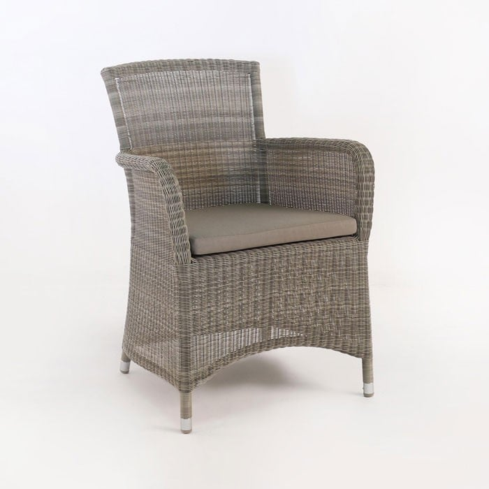 classic outdoor wicker dining chair with seat cushion