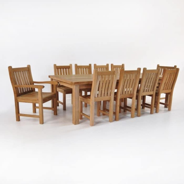 Hampton teak dining set with 10 wave chairs