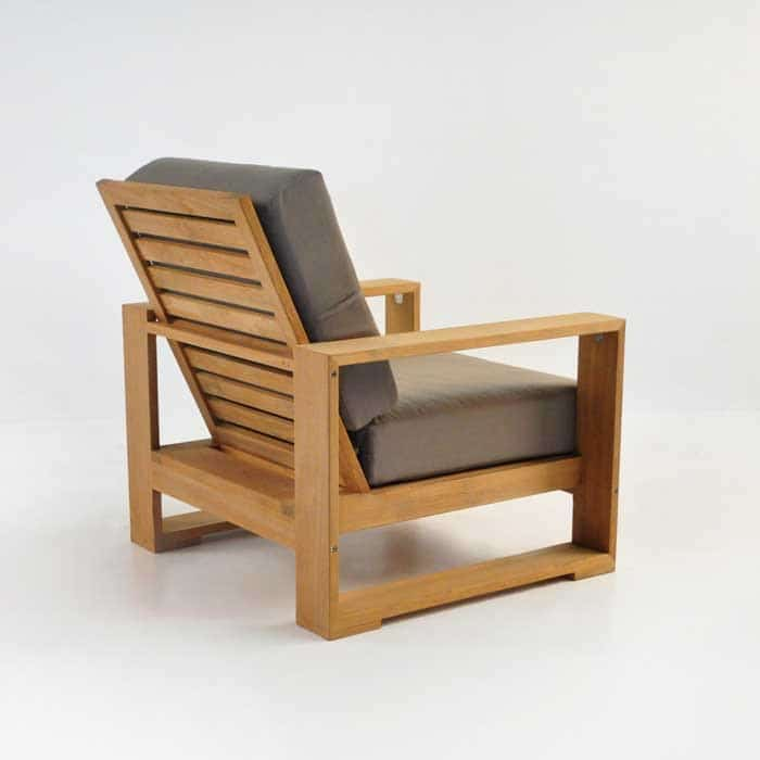 havana teak club chair back angle view