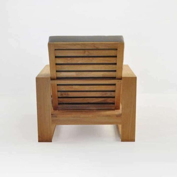 havana teak club chair rear view
