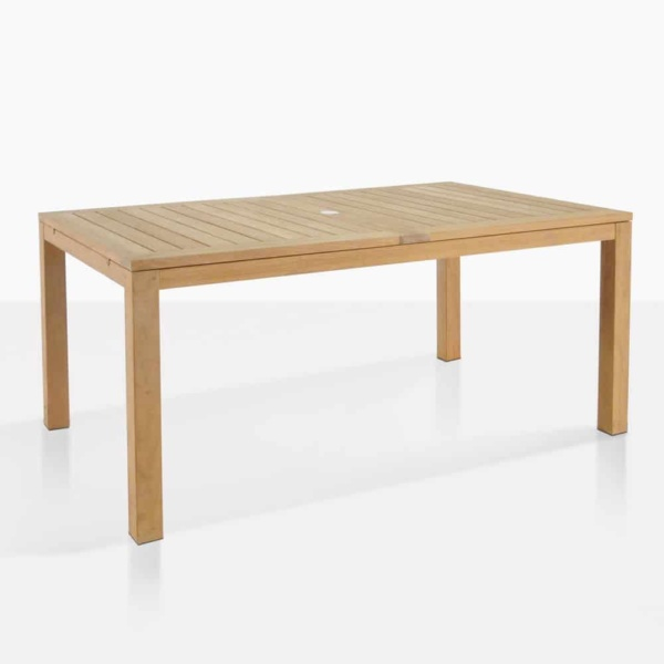 Monaco outdoor teak dining table closed angle