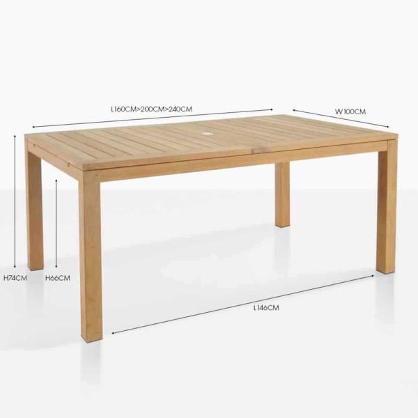 Monaco extension teak dining table