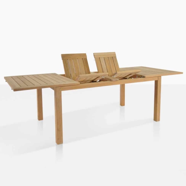 Monaco outdoor teak dining table half opened