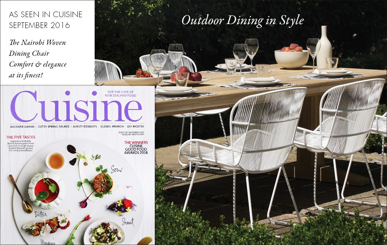 Outdoor Dining in Style as featured in Cuisine magazine