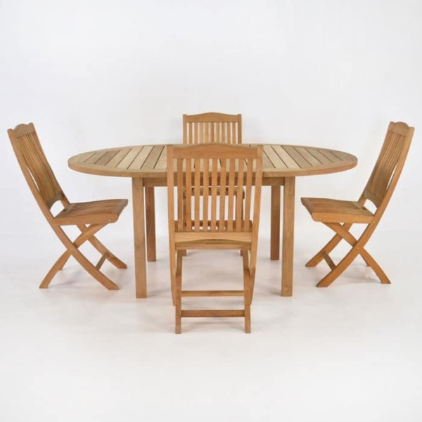 Teak Dining Set | Nova Round Teak Table and 4 Chairs-0