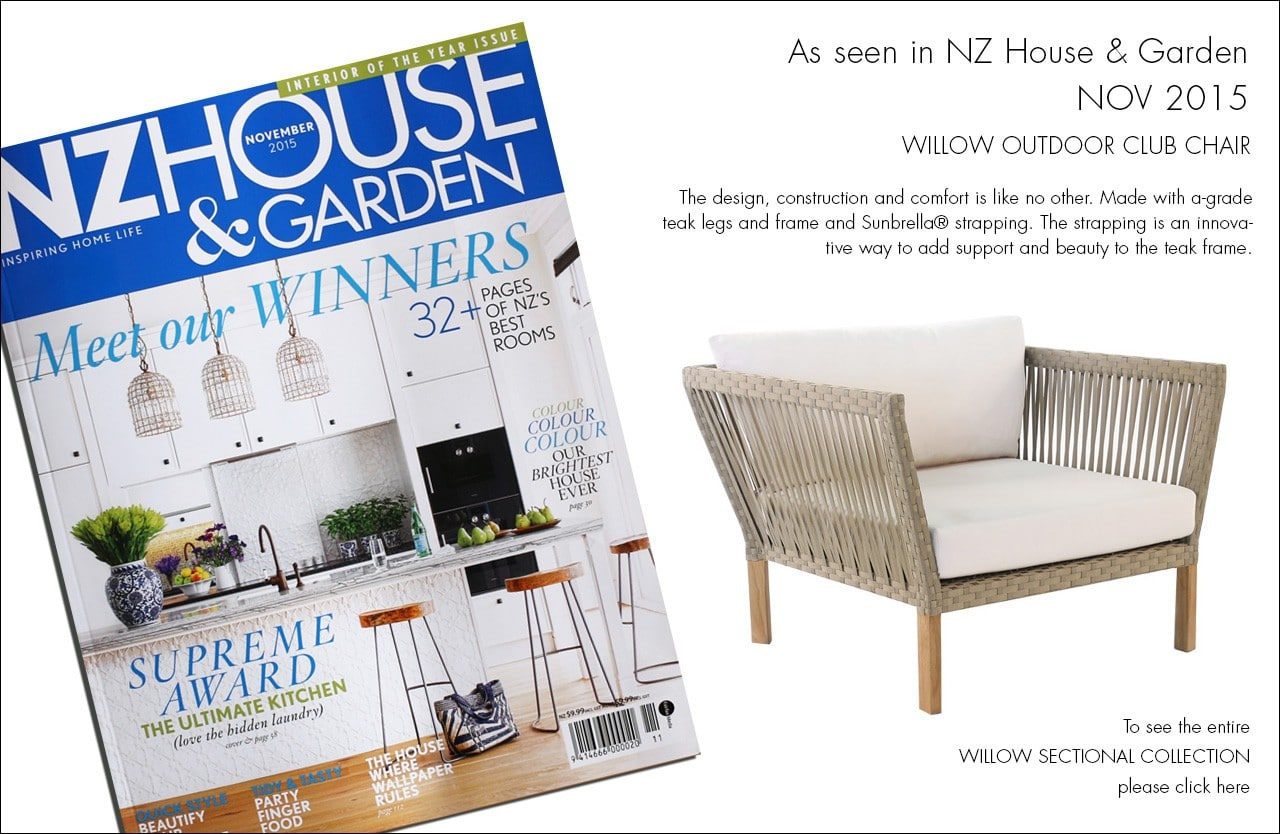 Willow Outdoor Furniture Collection As Seen in NZ House & Garden
