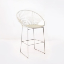 Pietro Wicker Bar Chair White pic