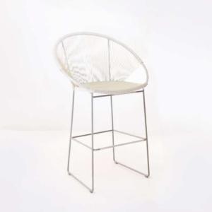 Pietro Wicker Bar Chair White pic