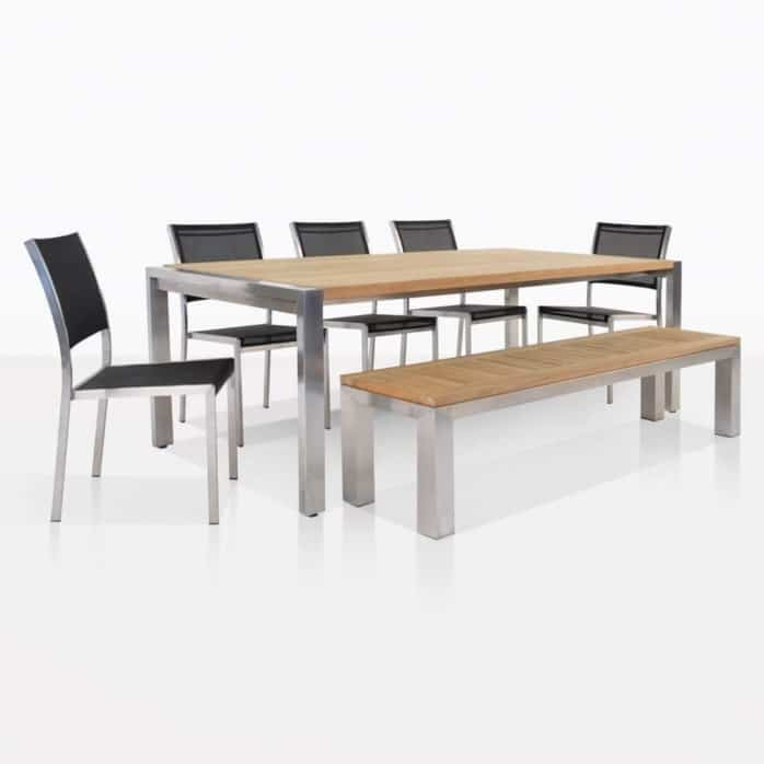 Teak Plank Table And Summer Batyline Chairs Set