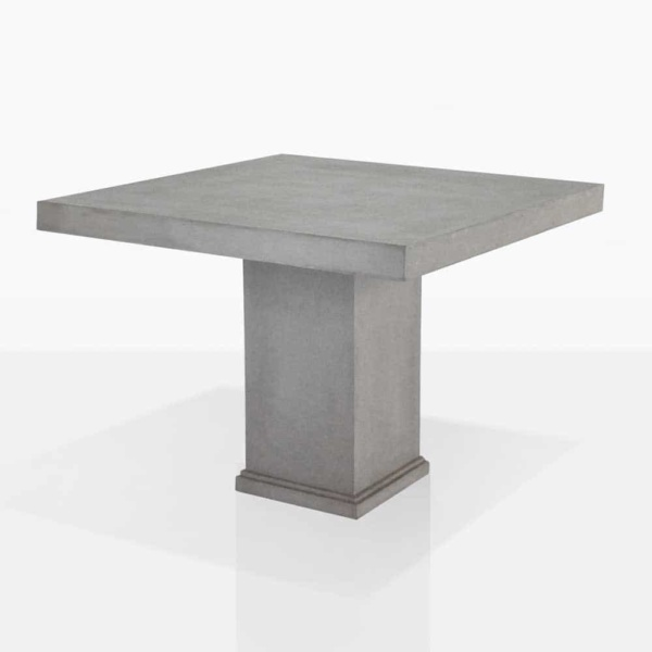 raw concrete square outdoor dining table angle