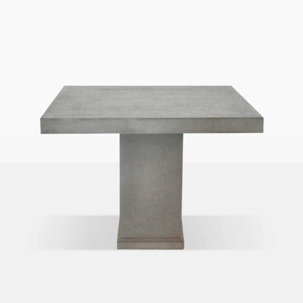 raw concrete square outdoor dining table side