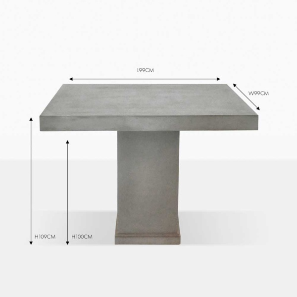 raw concrete square table