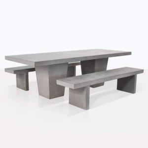 raw concrete tapered bench set