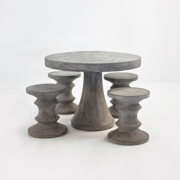 BLOK Concrete Dining Set | Table with 4 Chess Stools-0