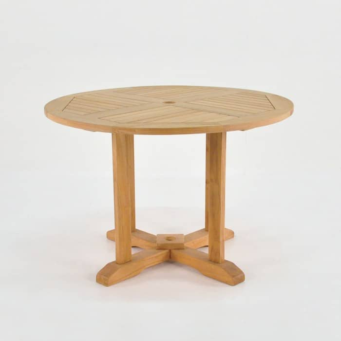 round teak pedestal dining table
