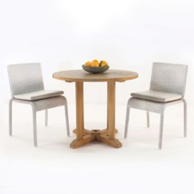 teak and wicker dining set for 2 people