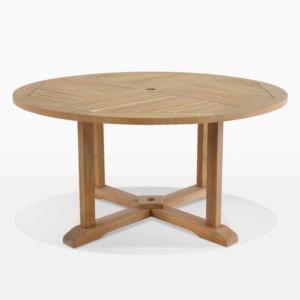 round teak pedestal out door dining table