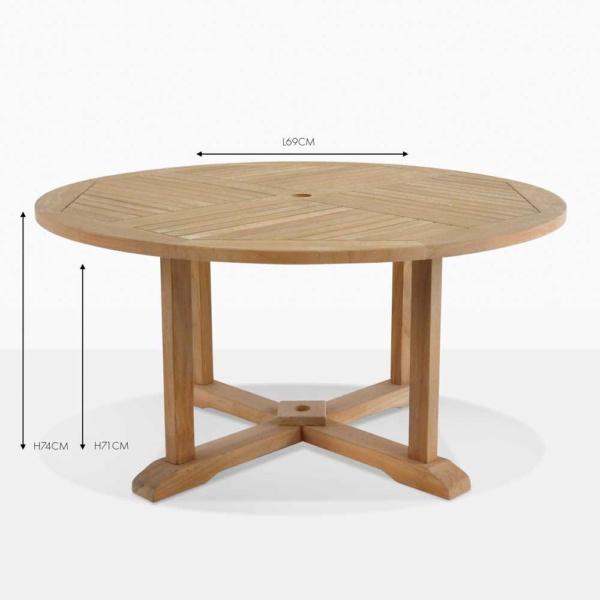 round teak pedestal outdoor dining table