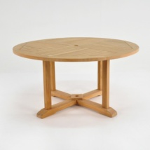 Round Teak Pedestal Dining Tables