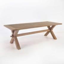 Rustic X-Leg Teak Dining Tables