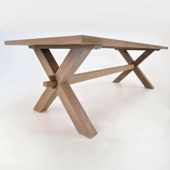 Rustic X Leg Teak Dining Tables Outdoor Furniture  : rustic cross leg table 2 from designwarehouse.co.nz size 700 x 700 jpeg 33kB