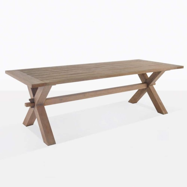 rustic reclaimed teak dining table x leg outdoor angle