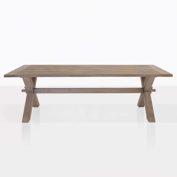 rustic reclaimed teak dining table x leg outdoor straight