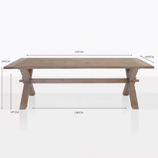 rustic x-leg reclaimed teak dining table