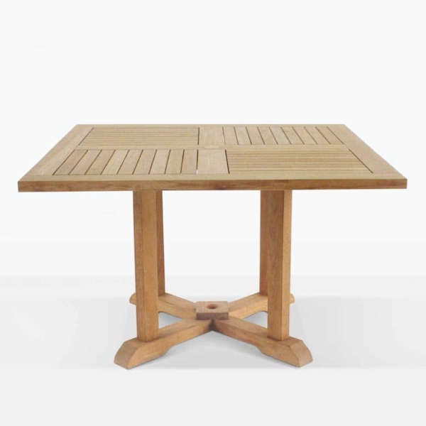 square teak pedestal outdoor dining table straight