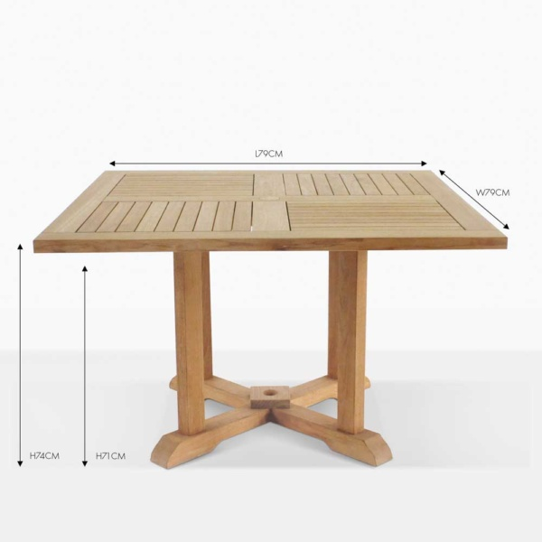 square pedestal teak square dining table
