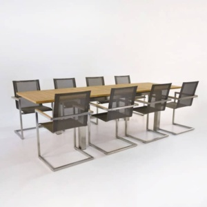 Outdoor Dining Set | Stainless Steel and Teak Extension Table + 8 Chairs-0
