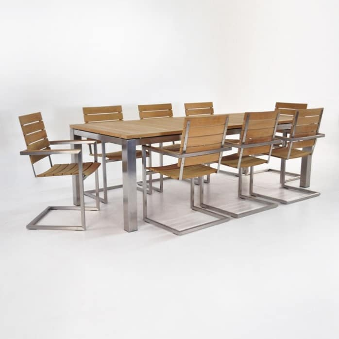 Stainless Steel Dining Set | Stainless and Teak Table with 8 Teak Chairs-0