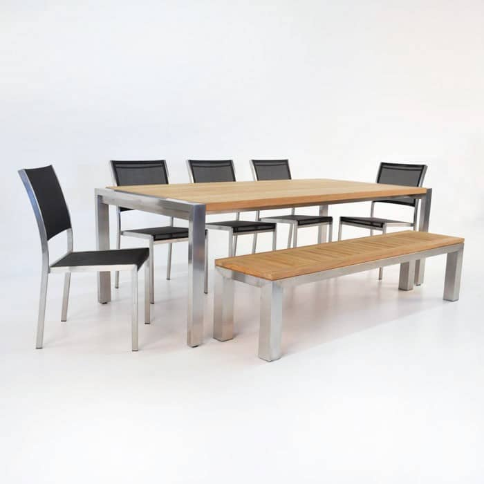 Outdoor Dining Set | Stainless and Teak Plank Table and Bench with 5 Batyline Chairs-0