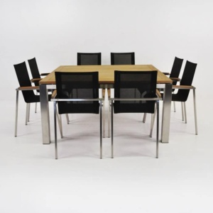 Stainless Steel Dining Set | Square Summer Table with 8 Chairs-0