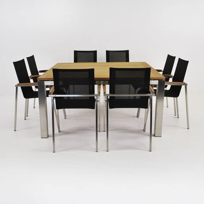8 Chair Square Dining Table: Summer Stainless Steel Dining Set With Chairs