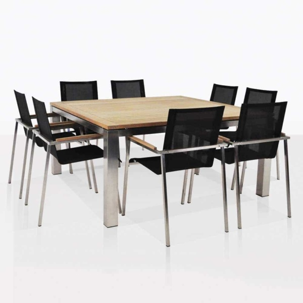 stainless steel and teak square dinging table