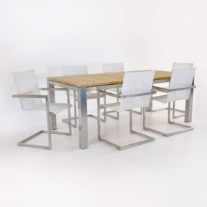 Outdoor Dining Set | Stainless Steel and Teak Dining Table with 6 Bruno Chairs-0