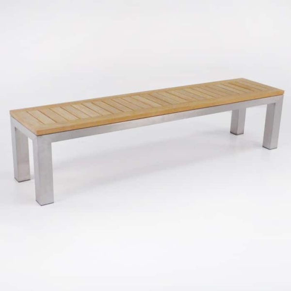Outdoor Dining Set | Stainless Steel and Teak Plank Table and Benches-2711