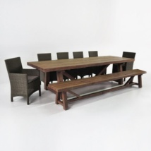 Reclaimed Teak Outdoor Dining Set with Bench & 6 Petra Wicker Chairs-0