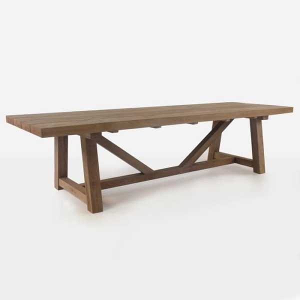 reclaimed teak trestle dining table