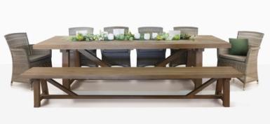 rustic teak and wicker outdoor dining set for ten people